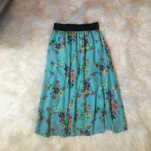 LulaRoe Light Blue Floral Skirt